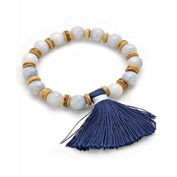 Aqua Natural Jasper Gemstone & Wood Beaded Stretch Bracelet with Navy Blue Tassel