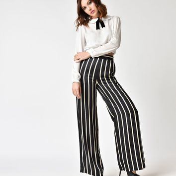 1940s Style Black & White Striped Wide Leg Pants