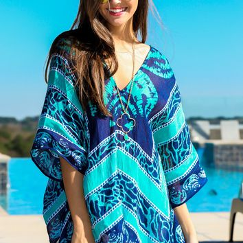 Brunch By The Sea Poncho-Navy