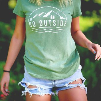 """Go Outside"" Women's Graphic Tee"
