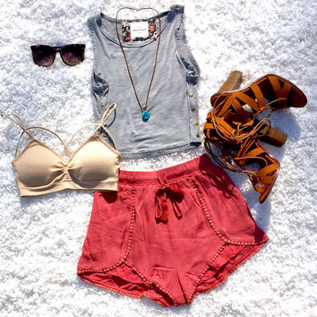 Boho Babe Shorts in Coral