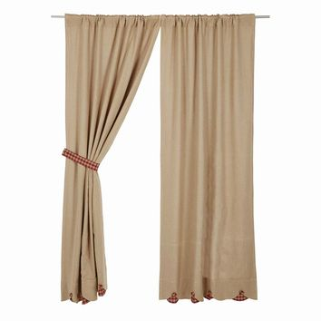 Burlap with Burgundy Check Panel Curtains