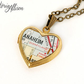 Anaheim California Map Necklace featuring Disneyland landmark, Vintage Brass Heart Locket, Brass Chain