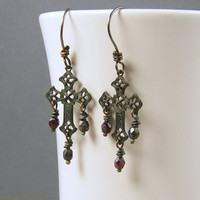 Dark Cross Earrings - Goth Filigree Earrings Rustic Oxidized Patina Metal Jewelry