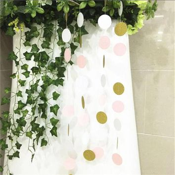 3 Meters Pink White and Gold Glitter Polka Dots Paper Garland Banner Home Party Wedding Decoration Supplies