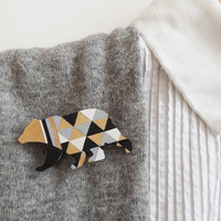 Geometric Black Bear Brooch - Harlequin Wooden Bear Pin