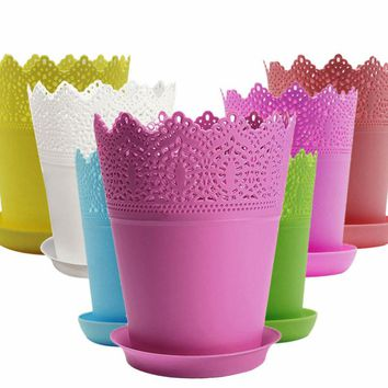 Colorful Flower Planter Tray Home Office Decor Crown Lace Plastic Flowerpot Resin Pots Colors Modern Style