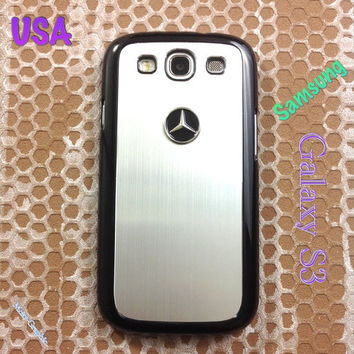 Mercedes Samsung Galaxy S3 Case Mercedes 3D Metal Car Logo with Aluminum Cover for S3 / i9300 -  F1 Silver