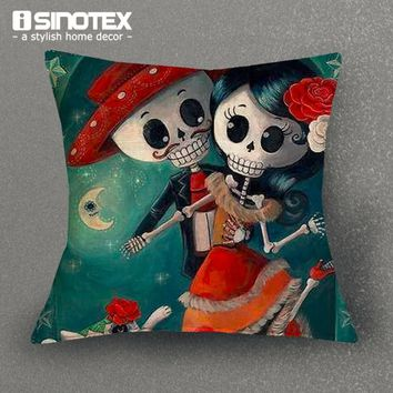 1PCS Lot Sugar Skull Candy Skeleton Linen Cushion Cover For Sofa Throw Pillow Case Chair Seat Pillow Cases
