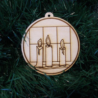 Christmas in July Sale  ornament wood engraved unpainted candles birch plywood