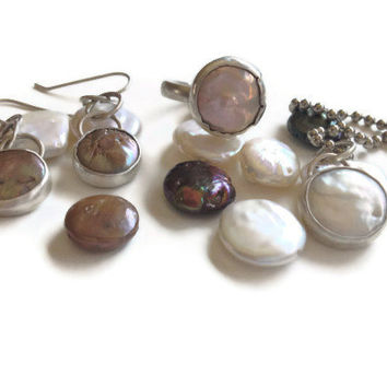 The 2013 mermaid Coin Pearl SET  Sterling silver bezel set dangle earrings, ring and pendant. Sundance style TAGT