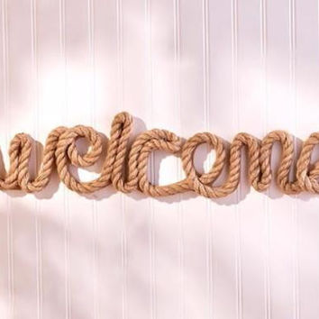 Welcome Sign Nautical Decor Jute Rope Large Oversized Entryway Indoor Outdoor