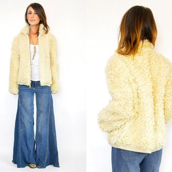 REVERSIBLE curly shaggy bohemian MONGOLIAN LAMB fur coat jacket bomber, extra small-medium