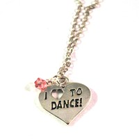 Dance Pendant on a  Chain Necklace, Handmade Necklace with Dancer Charm, Fashion Jewelry