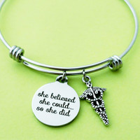 Medical, Bangle, she believed, she could, so she did, Bangle, Bracelet, Nurse, Motivational, Caduceus, RN, Graduation, Best friend, Gift