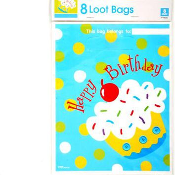 Birthday Boy Blue Cupcake Loot Bags (8 count) Case Pack 36