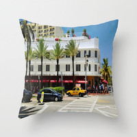 Art Deco Building Indoor Pillow Cover Miami Palm Trees Pillow Cover South Beach Street Corner Pillow Cover Architecture Pillow Cover White