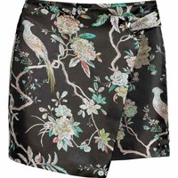 Wrap skirt with metal eyelet - Black/Floral - Ladies | H&M GB
