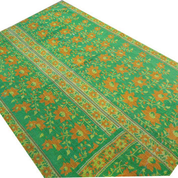 Indian Vintage Kantha Quilt Blanket Throw Made With Vintage Cotton Saree Bedspread Wholesale