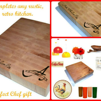 "Personalized Cutting Board - Inital, Name, Quote - End Grain Maple 14""x14""x2"" with Feet"