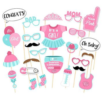 25pcs photo booth props baby shower kids birthday supplies  its a boy girl  babyshower decorations photography props