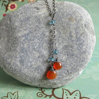 Orange Carnelian Necklace, Blue Apatite Necklace, Long Pendant, Gemstone Necklace, Oxidized Sterling Silver Chain
