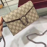 Gucci Women Print Shopping Leather Metal Chain Crossbody Shoulder Bag Four Color Grey