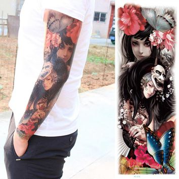 1pc new full arm tattoo stickers large flower shoulder Girls design fake tattoos sleeve body paint death skull rose black Fire