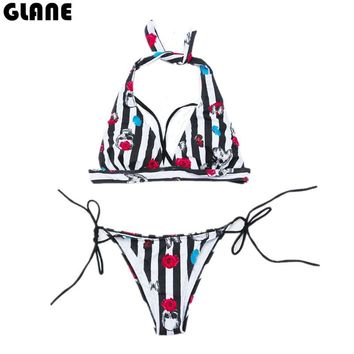 2018 New Hot Sexy Bikini National Wind Sling Split Swimsuit Low Waist Swimwear Women Biquini Brazilian Bikinis Set Bandage