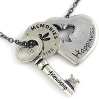 "Friends Forever Story Necklace with Pewter Heart, Key and Blessing Ring Charms, 22"" chain: Jewelry: Amazon.com"