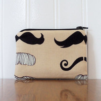 Fabric Coin Purse - Alexander Henry Moustache - Zipper Change Purse - Credit Card Case - Gift Card Holder - Small Pouch - Business Card Case