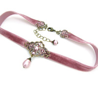 Dusty Pink Velvet Choker - Antique Pink Swarovski Crystal Pearl Neo Victorian Style with Antiqued Brass Floral Pink Patina Filigree