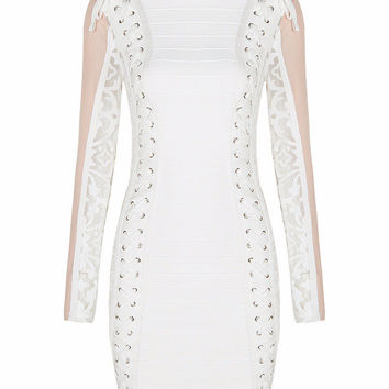 Winona White Lace-Up Bandage Dress