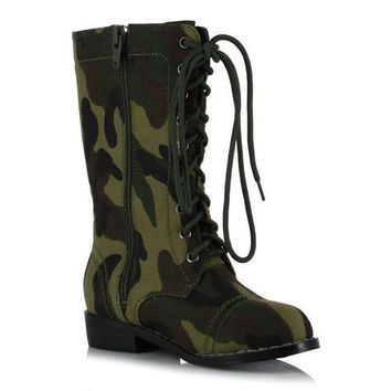 "1"" Heel Camo Ankle Boot. Children"