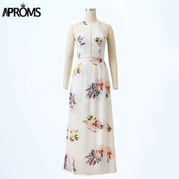 Aproms Sexy Off Shoulder Boho White Floral Print Maxi Long Dress Women Hollow Out O Neck Summer Sexy Party Girls Dresses Vestido
