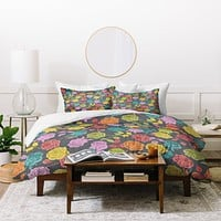 Bianca Green Roses Red Duvet Cover