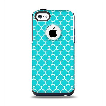 The Teal And White Seamless Morocan Pattern Apple iPhone 5c Otterbox Commuter Case Skin Set
