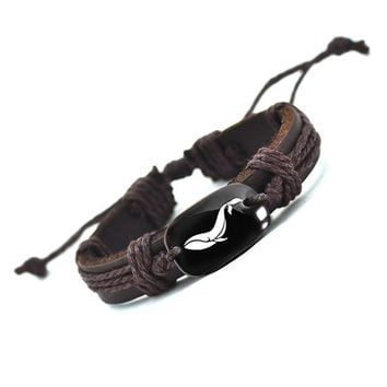 2017 Topsella Lovely Whale Hadmade Leather Bracelet for Men