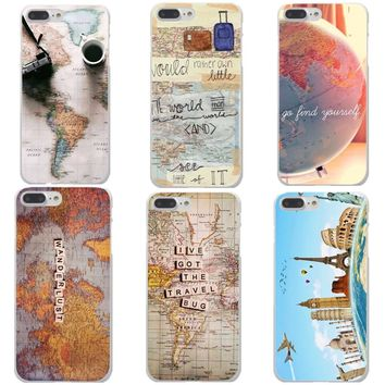 World Map Travel Plans Clear Hard Phone Cases For iPhone X 8 8 Plus Aeroplane for iPhone 5 5S SE 6 6S Plus 7 7Plus Phone cover