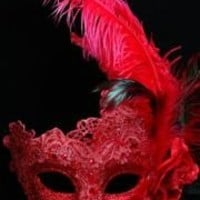 Venetian Macrame Red Masquerade Mask With Rhinestones And With Feathers On The Side