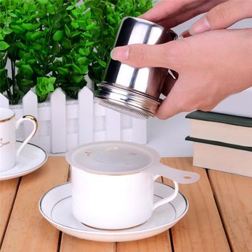 Stainless Steel Chocolate Shaker Cocoa Flour Salt Powder Icing Sugar Container Cappuccino Coffee Sifter Lid Cooking Tools