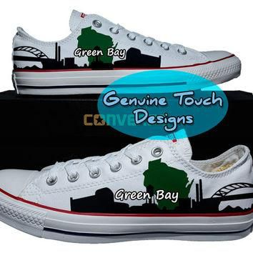 Hand Painted Converse, Green Bay, Skyline, Wisconsin, Custom converse, Birthday Gifts,