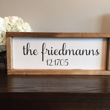 Family signs, last name signs, wedding, established sign, wood sign