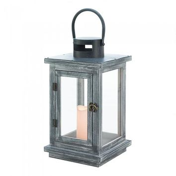 Distressed Gray Lantern with LED Candle