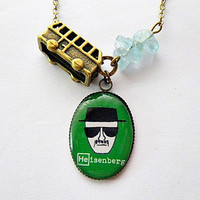 Breaking Bad: Heisenberg Walter White with RV & meth fan art photo resin pendant necklace