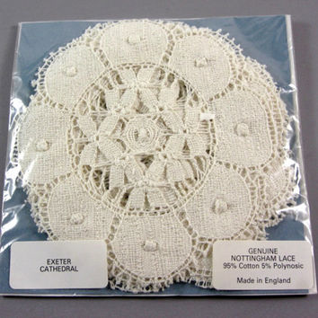 English Nottingham Lace Coasters Set of 6 // Exeter Cathedral Pattern