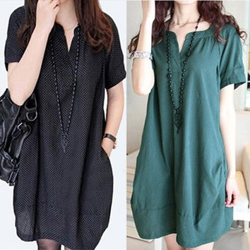 Korean Fashion Dots Linen V neck Maternity Dresses/Dress Autumn/Summer Loose Clothes for Pregnant Women,Pregnancy Clothing,M-XXL = 1946717252