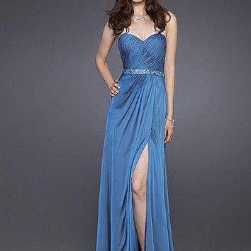 Sheath/Column Sweetheart Dark Navy Ruffles Chiffon Floor-length Dress at Dresseshop