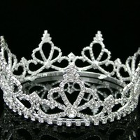 Pageant Rhinestone Crystal Beauty Contest Bridal Wedding Full Tiara Crown