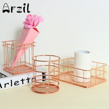 Rose Gold Metal Pen Holder Box Case Stationery Cosmetics Organizer Desk Sundries Basket Decor Home Office Storage Supplies